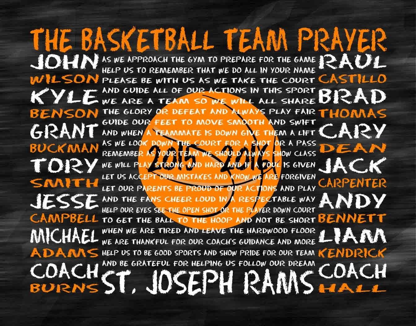 The Basketball Team Prayer Personalized Basketball Prayer