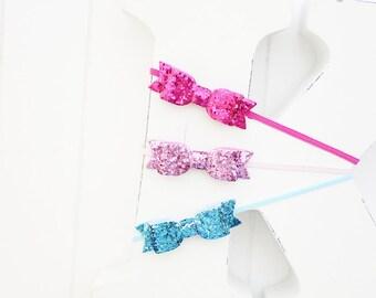 Mini glitter bow headbands- Set of 3- Shocking pink,Lt pink,Turquoise- Baby girl headband- Hair accessories- Birthday gift- Baby shower gift