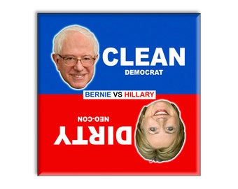 Guajolote Prints Clean Dirty Dishwasher Magnet Bernie Sanders Democrat vs Hillary Clinton NeoCon
