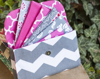 Pink and Grey Chevron Cash Envelope Clutch for Dave Ramsey Budget Perfect Christmas Gift