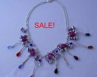 SALE! Indian styled silver and multicoloured necklace