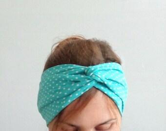 polka dot headband, twist headband, teal blue turban, stretch headwrap , summer headband with white dots