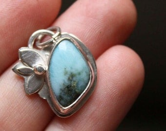 Larimar silver pendant, CLAPOTIS, larimar sterling silver flower pendant, fiance gift, girlfriend gift, mothers'day gift