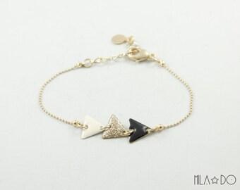 Poko bracelet in ivory, gold glitter and black || Geometric modern bracelet