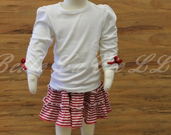 Adorable Toddler/Youth White Top and Striped Skirt