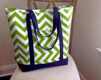 10% off Sale*  Green & White Chevron Beach Tote, Shopping Tote, Large Beach Bag