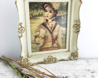 Christmas in July Vintage Huldah Print in Ornate Shabby Chic Frame