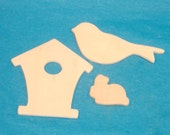 Bird, Birdhouse and Bunny Wood Shapes - Spring Wood Embellishments, DIY Wood Crafts - Total 3 Pieces - DESTASH