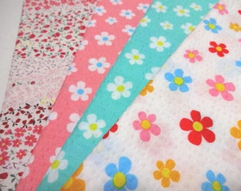 SALE Japanese Fabric Rippled Flower FQ 4Pices