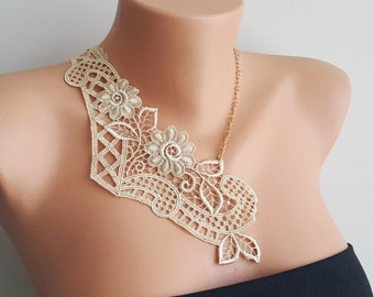Nude Gold Wedding Necklace/ Lace Necklace/ Silver/ Gold Necklace/ Arc Necklace/ Flower Necklace/ Wedding Necklace/ Gift For Her