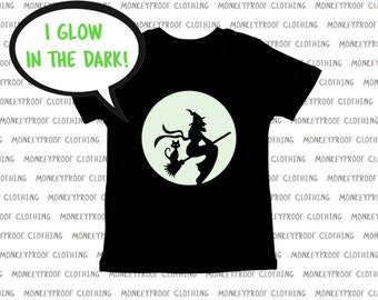 Glow In The Dark, Witch Flying On Broomstick, Full Moon, Black Cat, Halloween Tee Shirt, Shirt for Boys, Shirt for Girls