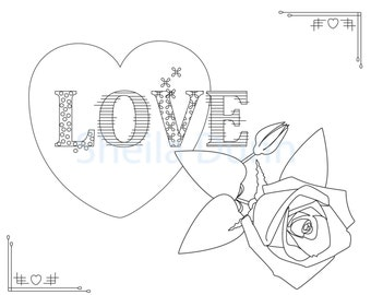 shabby chic love coloring page