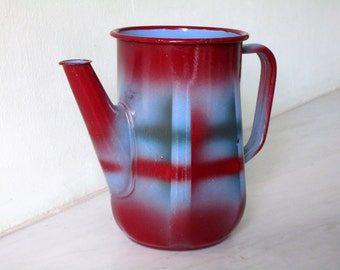 Vintage French Aqua and Red Enamel Pitcher, French Vintage Enamelware, Vintage Kitchenalia - authentic French Farmhouse Rustic Chic