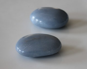 Angelite Palm Stone, Palmstone, Angel Crystal,  Contact Guides and Angels, Peace, Psychic Awareness