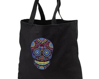 Neon Sugar Skull New Black Tote Bag Events Books Gifts Day of the Dead