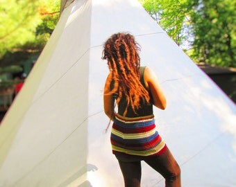 TakeMeOut! Upcycled miniskirt~striped knit cotton...