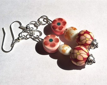 Cute Orange and Red Dangle Earrings:  Flower Patterned Polymer Clay Covered Glass Beads, Flower Patterned Ceramic Beads