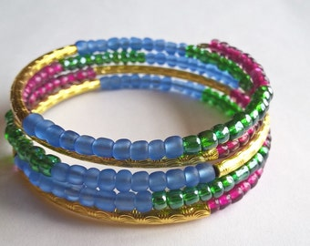 Berry, Blue, and Green Memory Wire Bracelet with Gold Plated Textured Metal Tube Spacers