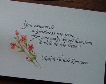 Emerson Quote - Hand Calligraphy - Watercolor Wall Art - Inspirational Quote - Ralph Waldo Emerson - Calligraphy Gift