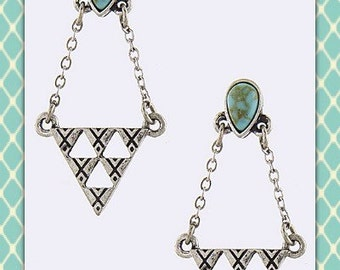 Antique Silver Howlite Turquoise Earrings