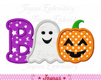 Instant Download Halloween Boo With Ghost Pumpkin Applique Machine Embroidery Design NO:2185