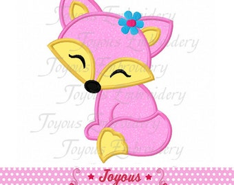 Instant Download Girl Fox Applique Machine Embroidery Design NO:2050