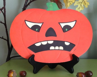 Vintage Halloween Scowling Jack O Lantern Die Cut Mad Frowing Holiday 1950s Luhrs Pumpkin Display All Hallows Eve Retro Beistle Decor