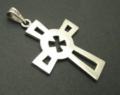 Large Sterling Cross Pendant Vintage Jewelry H774