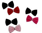 Red and Black Velvet Mini Hair Bow Set with Rhinestones- Pink and Black- Hot Pink and Black- Velvet Hair Bows Set on Alligator Clips