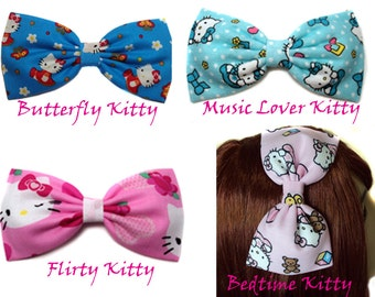 Hello Kitty Hair Bow-Butterfly Kitty- Music Lover Kitty- Flirty Kitty-Pink Bedtime Hello Kitty Hair Bow