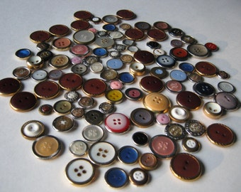 Vintage Buttons, Colourful, Metal Rimmed, Gem Plastic Centres.....LOT 10