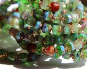 6 mm Authentic Czech Bronze, Blue and Green, Faceted Bols/Cathedral Beads