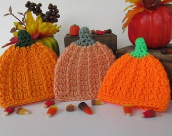 Crochet Baby Pumpkin Hat, Pumpkin Beanie, Fall Baby Hat, Halloween Baby, Baby Beanie, Thanksgiving, Harvest, Photo Prop, Coming Home Outfit