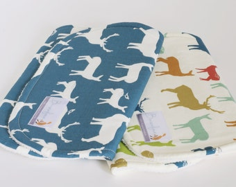 Organic Burp Cloth Set in Blue and Multi Colour Deer