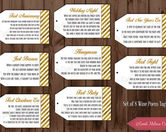 INSTANT DOWNLOAD 1st Milestone Wine Tags Poems Digital File