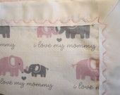 Pink and Gray Elephant Flannel Receiving Blanket