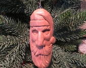 Hand Carved Wooden Santa Ornament for Christmas