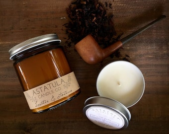 LEATHER + TOBACCO// best seller!!  //  Soy Wax Candle // 8oz. jar