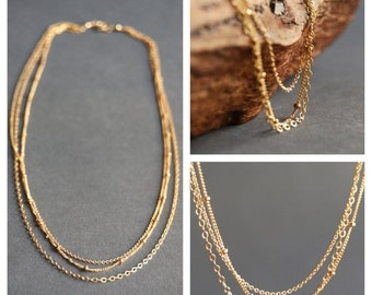 SALE Kaiemi necklace - triple strand necklace, gold necklace, gold filled necklace, delicate gold necklace, gold chain necklace, hawaii jewe