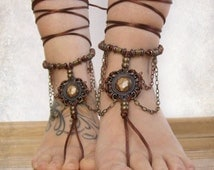 Vintage beaded BAREFOOT sandals, brass copper barefoot sandles, victorian shoes, beach BOHO foot jewelry, foot thongs, bottomless shoes