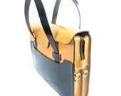 Black and tan Bridle Leather Zipper Top Tote Briefcase