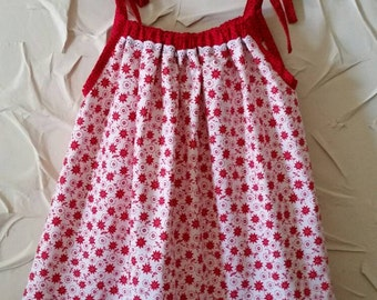 SALE   Pillowcase style sundress in red and white floral print