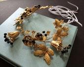 """Wedding hair tiara, bridal hair comb, flower hair tiara, gold11.25"""" x 2.25"""" vintage style hair accessory"""