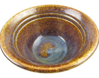 A Small, Deep Bowl With Blue Glaze Puddle in Bottom - 'Nulton' - Rusts and Browns - Mix and Match - Earth Colors - Utilitarian Beauty