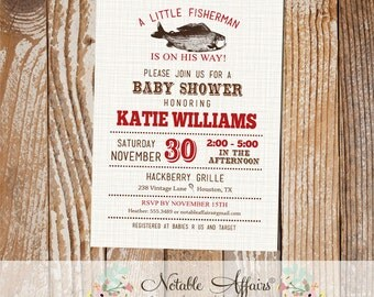 Vintage Fish Little Fisherman Dark Red baby shower invitation on brown linen - fishing shower - boy baby shower - text color change only