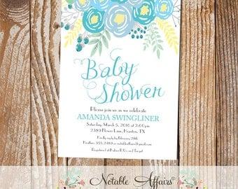 Blue Flowers Modern Baby Shower invitation - no color changes - Floral Boy Baby Shower invitation - turquoise light blue teal ice blue