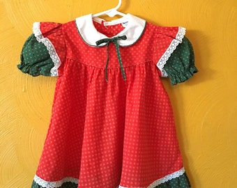 Vintage toddler girl dress/ party dress/ retro dress/ Peter Pan collar size 3T