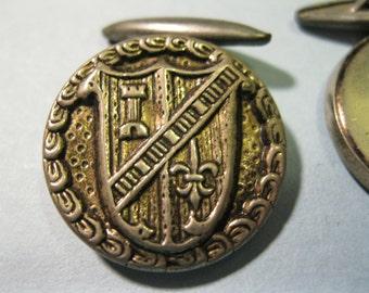 cuff links vintage 50s crest shield castle fluer de lis silver tone metal button
