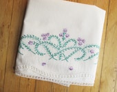 An Orphaned Pillowcase - Cool Green and Purple Embroidery With White Box-pattern Crocheted Hem - White Fullsize Pillowcase