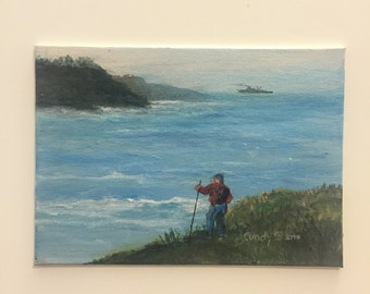 Man by Lake Painting